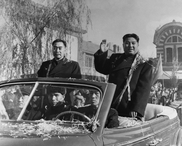 Kim Il Sung With Chou En-Lai Waving