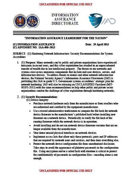 NSA-IAD-HardeningInfrastructure